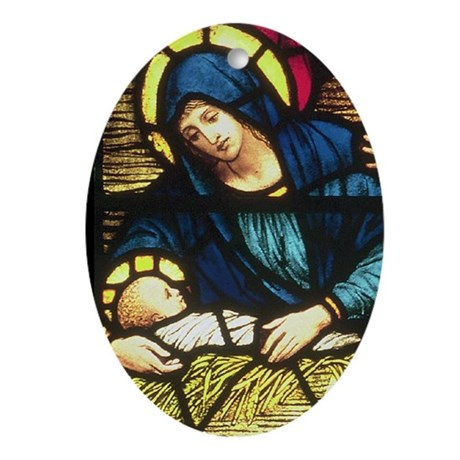 Nativity Detail Oval Ornament