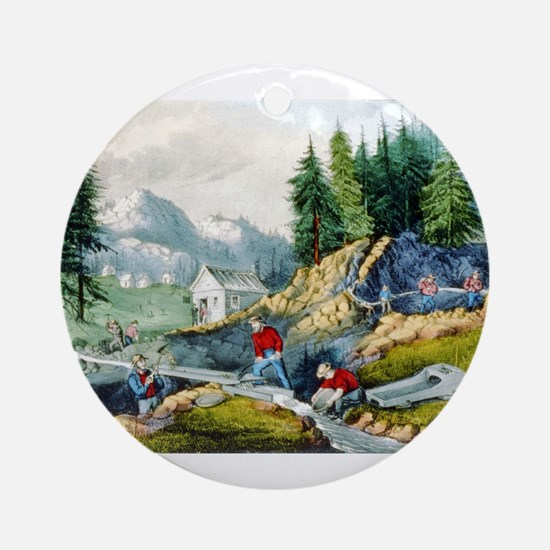 Gold mining in California - 1871 Round Ornament