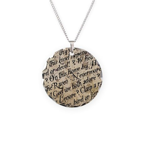 Poe Raven Text Pattern Necklace
