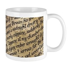 Poe Raven Text Pattern Mugs