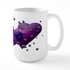 Purple Multi Hearts Mug (Large)