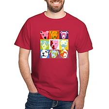 Pop Art Pit Bulls Dark T-Shirt