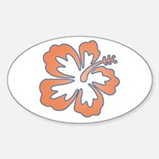 Surf Flowers (Orange and Blue) Oval Decal