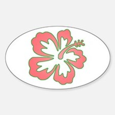 Surf Flowers (Pink and Green) Oval Decal