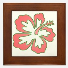 Surf Flowers (Pink and Green) Framed Tile