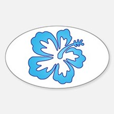 Blue Surf Flowers Oval Decal