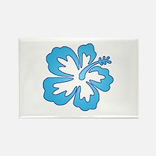 Blue Surf Flowers Rectangle Magnet