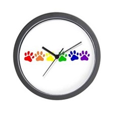 Rainbow Paws Wall Clock
