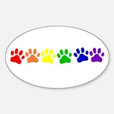 Rainbow Paws Oval Decal
