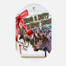 Holiday moose Oval Ornament