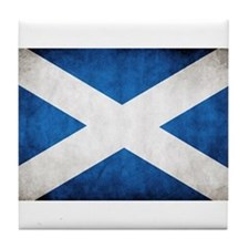 antiqued scottish flag Tile Coaster