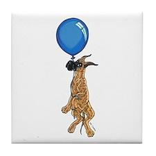 C Brindle Balloon Pup Tile Coaster