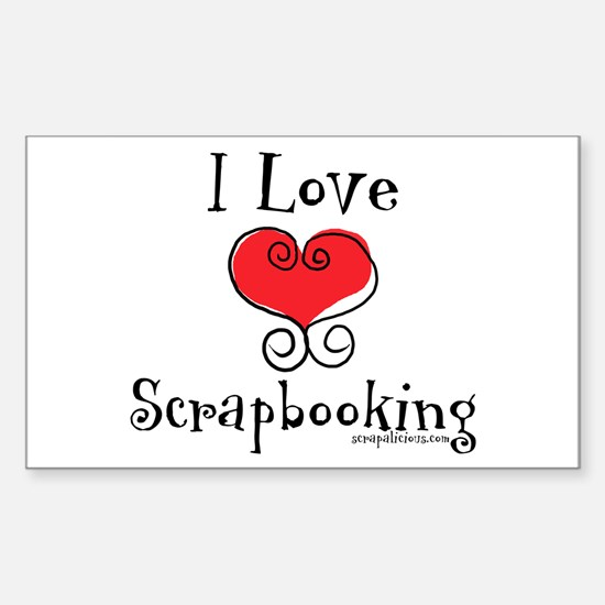 I Love (heart) Scrapbooking Rectangle Decal
