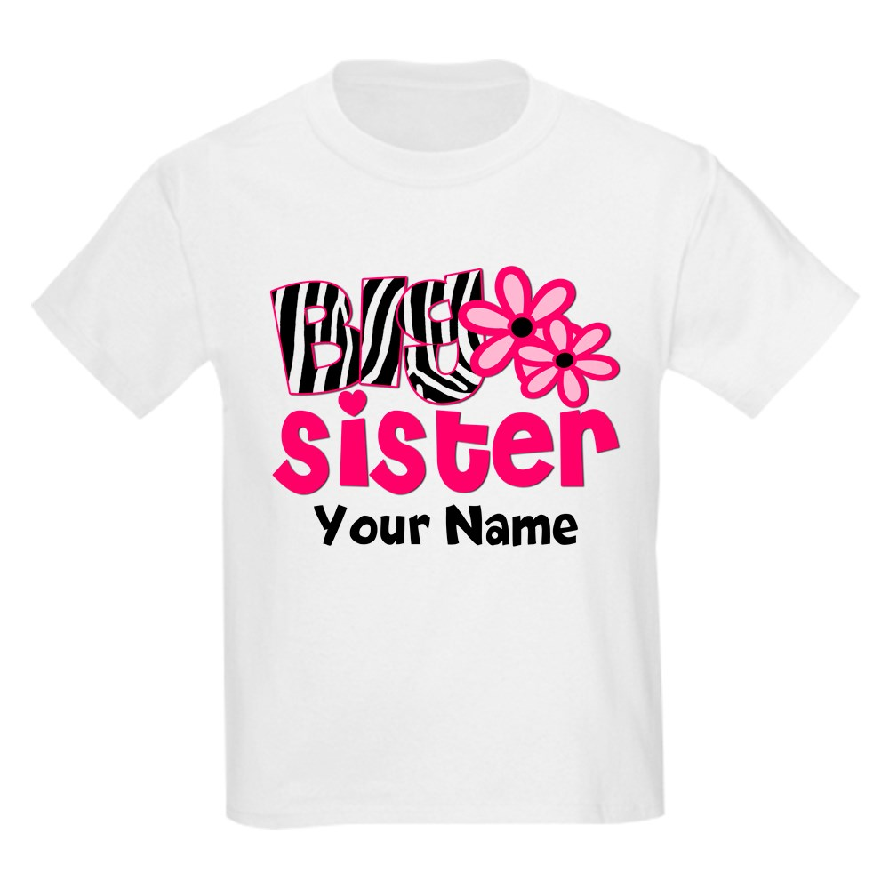 CafePress Big Sister Zebra floral Kids T-Shirt