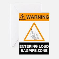 Warning! Entering Loud Bagpip Greeting Cards (Pack