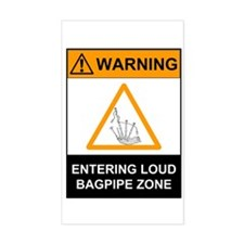 Warning! Entering Loud Bagpip Sticker (Rectangular