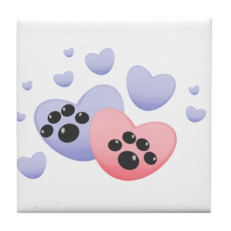 paws and hearts Tile Coaster