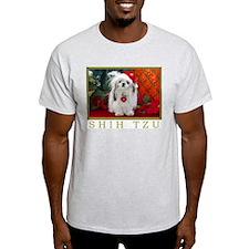 Shih Tzu Christmas Santa Peaches Ash Grey T-Shirt