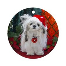 Shih Tzu Christmas Santa Peaches Ornament (Round)