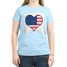 Patriotic Heart with Flag Ash Grey T-Shirt