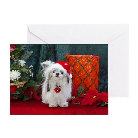 Shih Tzu Christmas Santa Peaches Greeting Cards (P by ...