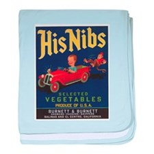 Vintage Fruit Vegetable Crate Label baby blanket