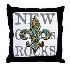 New Orleans Rocks, fleur & text Throw Pillow