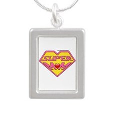 Supermom Silver Portrait Necklace