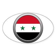 Round Syrian Arab Republic Flag Oval Decal
