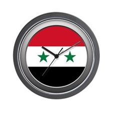 Round Syrian Arab Republic Flag Wall Clock