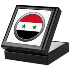 Round Syrian Arab Republic Flag Keepsake Box