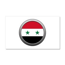 Round Syrian Arab Republic Flag Car Magnet 20 x 12