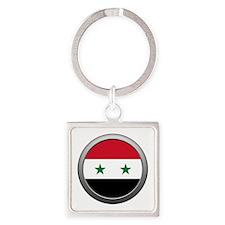 Round Syrian Arab Republic Flag Square Keychain