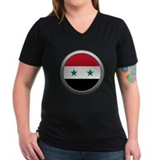 Round Syrian Arab Republic Flag Women's Dark V-Nec