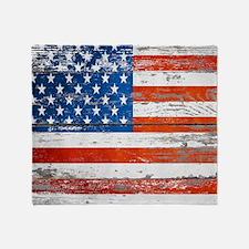 Cute Grunge american flag Throw Blanket