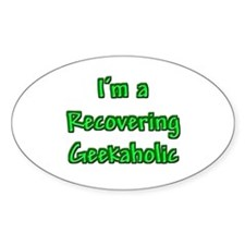 Recovering Geekaholic Oval Decal
