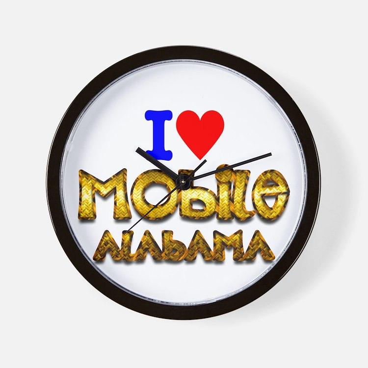 I Love Mobile Alabama 2 Wall Clock