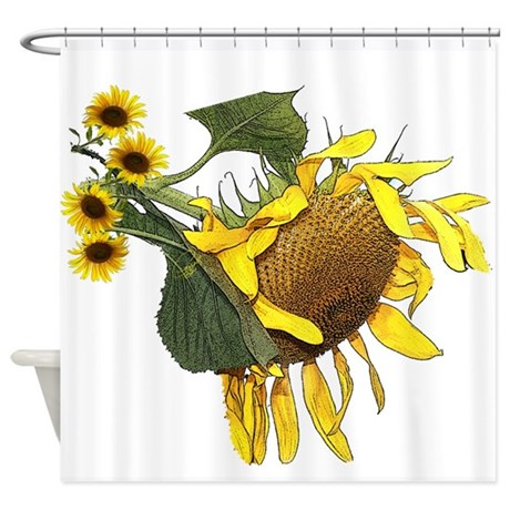 sunflower shower curtain by carrollgraphix. Black Bedroom Furniture Sets. Home Design Ideas