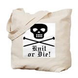 Knit or die Totes & Shopping Bags