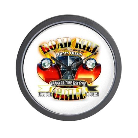 """""""Road Kill Grill!"""" Wall Clock"""