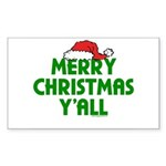 Merry Christmas Y'all Rectangle Sticker