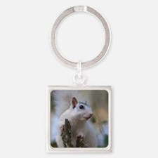 Astronaut Squirrel Square Keychain