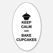 Keep Calm and Bake Cupcakes Sticker (Oval)