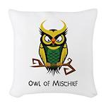 Owl of Mischief Woven Throw Pillow