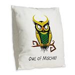 Owl of Mischief Burlap Throw Pillow