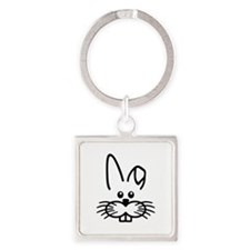 Bunny rabbit face Square Keychain