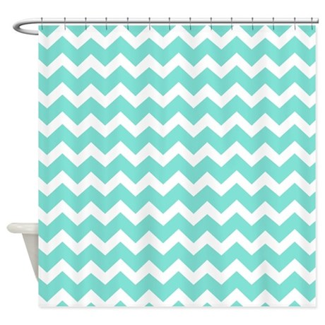 Aqua White Chevron Pattern Shower Curtain By DreamingMindCards