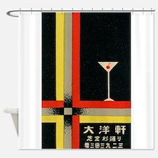 Martini, Japan, Retro, Art Deco Poster Shower Curt