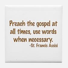 PreachTheGospelWordsBrownText1.png Tile Coaster