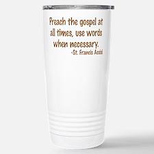 PreachTheGospelWordsBrownText1.png Travel Mug